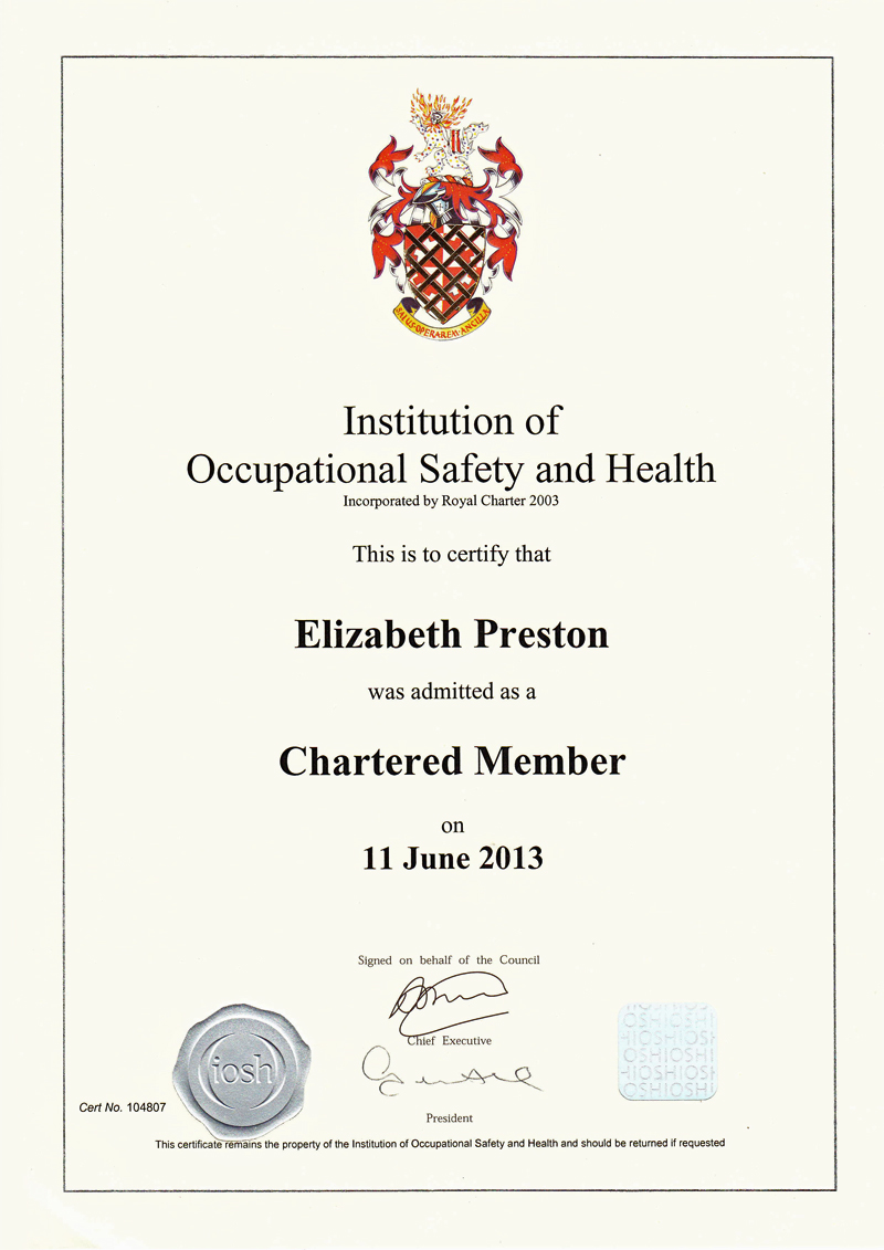 Liz preston cmiosh miirsm craven safety services iosh certificate liz preston xflitez Gallery