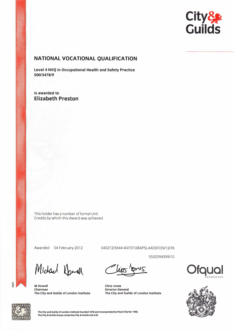 Liz preston cmiosh miirsm craven safety services nvq4 certificate liz preston xflitez Gallery