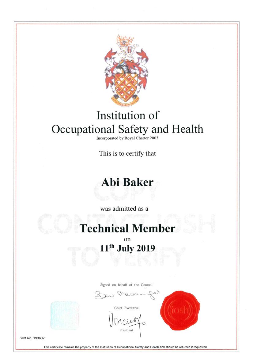 Abi Baker TechIOSH Certificate